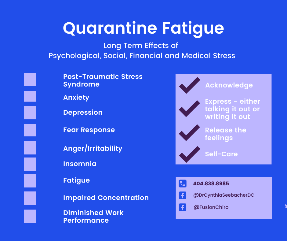 Quarantine Fatigue symptoms are PTSD, anxiety, anger, irritability, difficulty concentrating, fatigue, diminished work capacity. Coping skills include acknowledging the feelings, talking or writing about the feelings, release the feelings and self-care.
