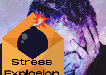 Man holding his head in his hand due to overwhelming stress. Cannonball lit and ready to explode in a Stress Explosion.